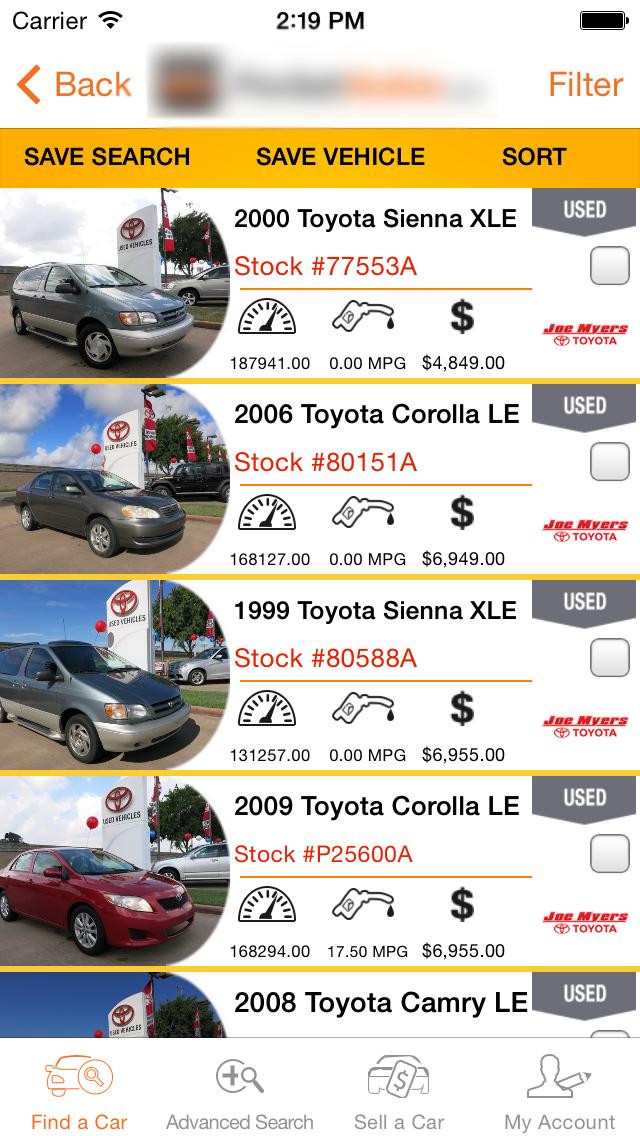 Consumer App Vehicle-List Screen Automobile.