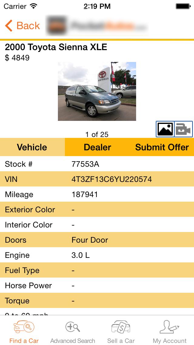 Consumer App Vehicle Details Screen Automobile.