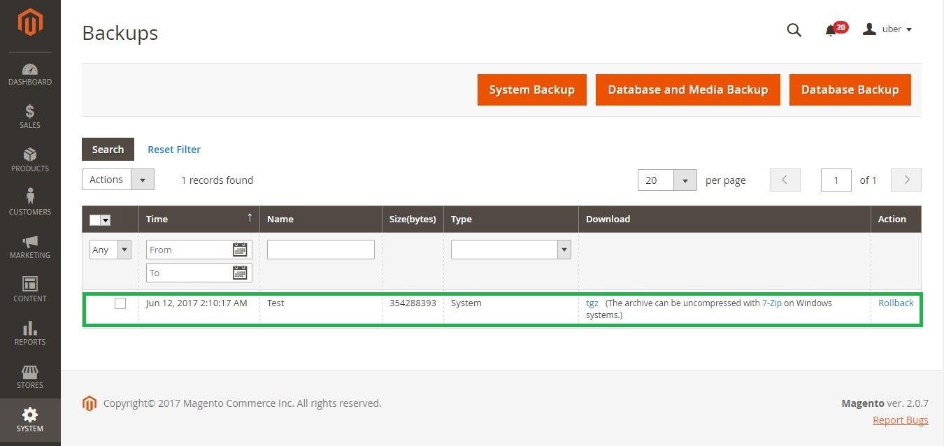 Backup Magento Site - list